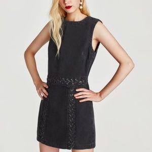 Zara Short Black Denim Tank Dress with Laces